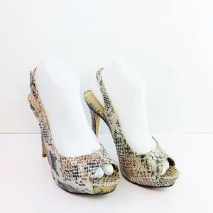 Aldo Taupe & Black Faux Snakeskin Platform Heels